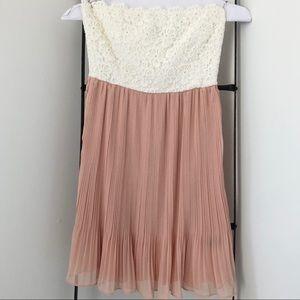 Strapless Ivory Lace & Mauve Pleated Dress